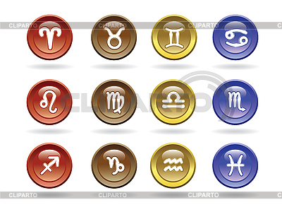 Zodiac signs Glossy icons | Stock Vector Graphics |ID 3178519