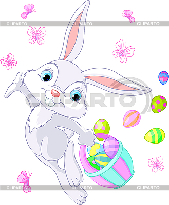 Easter Bunny Hiding Eggs | Stock Vector Graphics |ID 3184711