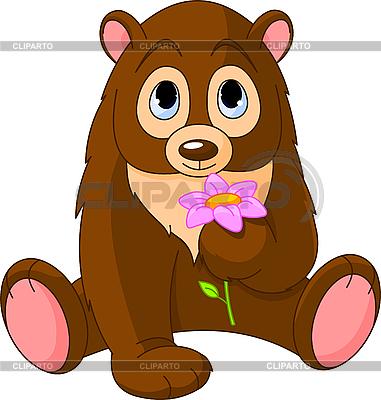 Cute Bear holding flower | Stock Vector Graphics |ID 3184770