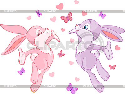 情人节兔子 | 向量插图 |ID 3184776