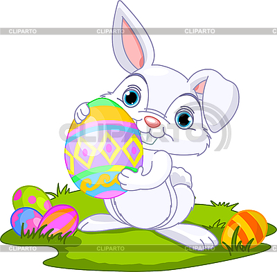 Easter. Bunny carrying egg | Stock Vector Graphics |ID 3189182