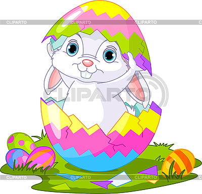 Easter. Bunny jumping out of egg | Stock Vector Graphics |ID 3189184
