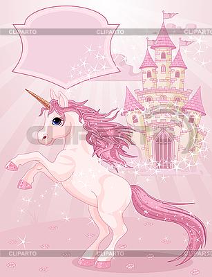 Сказочный замок иединорог | Векторный клипарт |ID 3189192