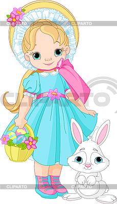 女孩与复活节兔子 | 向量插图 |ID 3192280