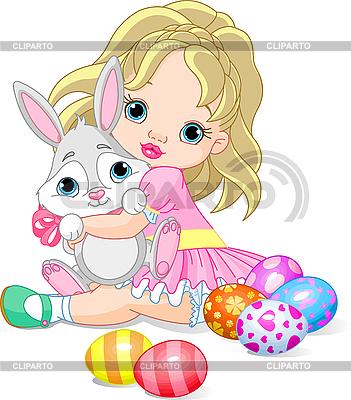 小女孩和复活节兔子 | 向量插图 |ID 3199666