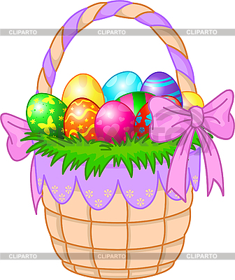 Easter Basket with colorful eggs | Stock Vector Graphics |ID 3199676