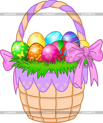 다채로운 부활절 계란 바구니 | 벡터 클립 아트 |ID 3199676