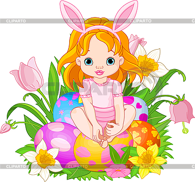 Cute Easter baby girl | Stock Vector Graphics |ID 3201179