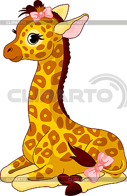 Giraffe Calf with bow | Stock Vector Graphics |ID 3201201