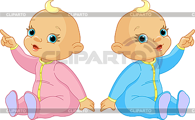Two Babies pointing | Stock Vector Graphics |ID 3205249