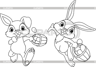 Bunny Hiding Eggs coloring page | Stock Vector Graphics |ID 3216119