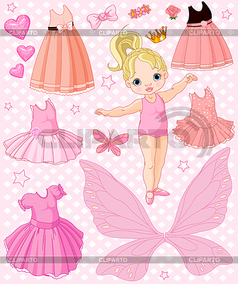 Baby Girl with different ballet and princess dresses | Stock Vector Graphics |ID 3253201