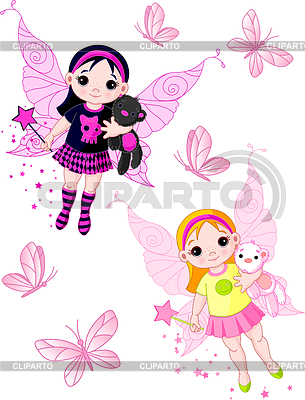 Little fairies flying with butterflies | Stock Vector Graphics |ID 3253207
