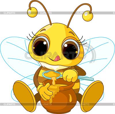Милая пчелка ест мед | Векторный клипарт |ID 3267683