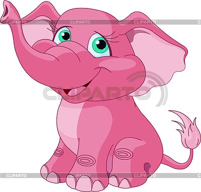粉红色的大象 | 向量插图 |ID 3366535