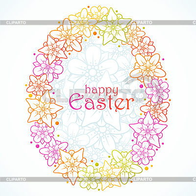 Floral greeting card of Easter. Egg | Stock Vector Graphics |ID 3198077