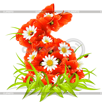 Spring flowers in the shape of Easter Rabbit | Stock Vector Graphics |ID 3198105