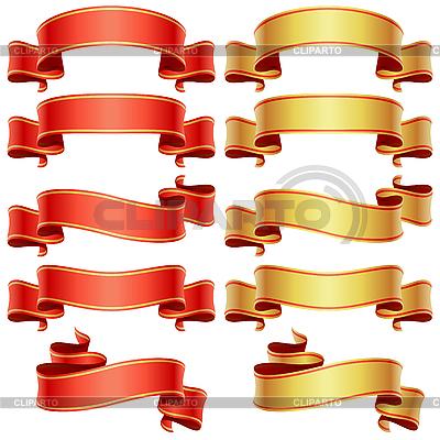 Zestaw transparenty czerwone i złote | Klipart wektorowy |ID 3198107