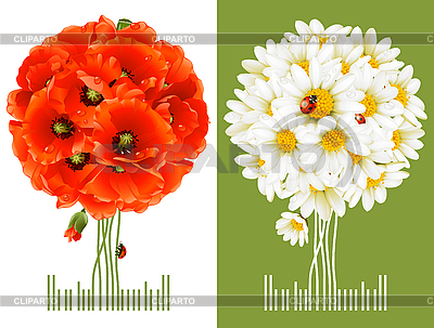 Floral Greeting Cards | 벡터 클립 아트 |ID 3198141