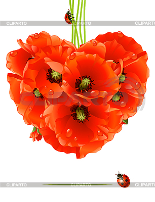 Floral love card (poppy heart) | Stock Vector Graphics |ID 3198145