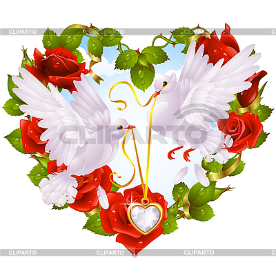 Rose wreath in shape of heart and couple of doves | Stock Vector Graphics |ID 3200672
