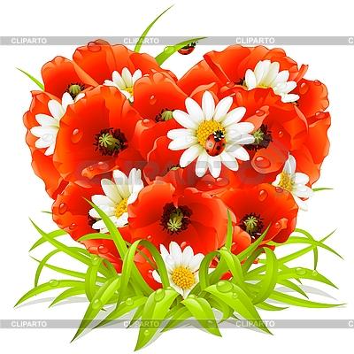Весенние цветы в форме сердца | Векторный клипарт |ID 3200684