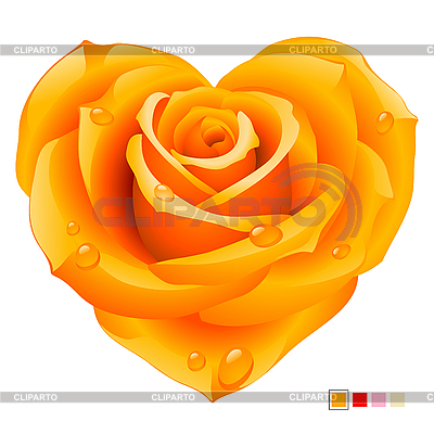 Orange rose in the shape of heart | Stock Vector Graphics |ID 3200688
