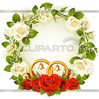 Wreath with roses and golden wedding rings | Stock Vector Graphics |ID 3200758