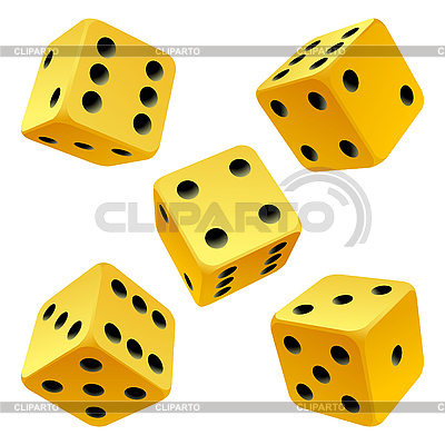 Yellow rolling dice set. icon   Stock Vector Graphics  ID 3203698