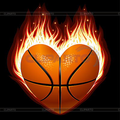 Basketball in the shape of heart in fire | Stock Vector Graphics |ID 3203712