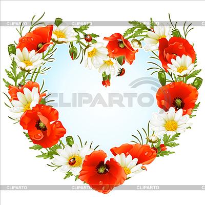 양 귀 비와 camomiles의 심장 꽃 프레임 | 벡터 클립 아트 |ID 3222920
