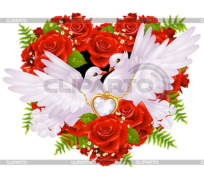 Roses and pigeons | Stock Vector Graphics |ID 3230092