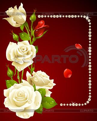 Weiße Rose und Perlen Rahmen. Design-Element. | Stock Vektorgrafik |ID 3230137