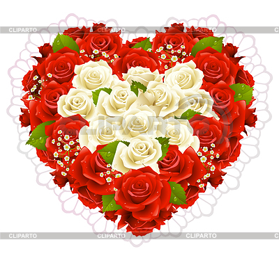 Bunch of roses in the shape of heart | Stock Vector Graphics |ID 3235570