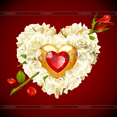 Red Roses and golden jewel in the shape of heart | Stock Vector Graphics |ID 3235576