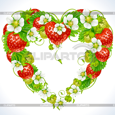 Strawberry frame in the shape of heart | Stock Vector Graphics |ID 3235608