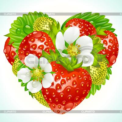 草莓在心脏的形状 | 向量插图 |ID 3235610