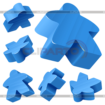 Blue wooden Meeple set isolated on white | Stock Vector Graphics |ID 3235778