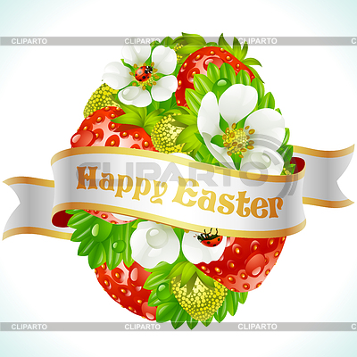 Vector Easter egg from strawberry and flowers | Stock Vector Graphics |ID 3271217