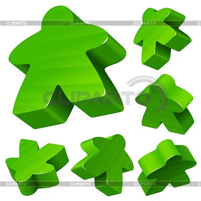 Green wooden Meeple set | Stock Vector Graphics |ID 3271223