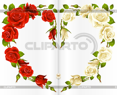 Red and white Rose frame in the shape of heart | Stock Vector Graphics |ID 3271230