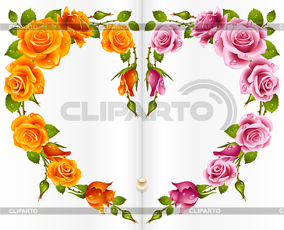 Orange and pink Rose frame in the shape of heart | Stock Vector Graphics |ID 3271231