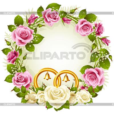 꽃 프레임. 벡터 흰색과 핑크 장미   벡터 클립 아트  ID 3271239