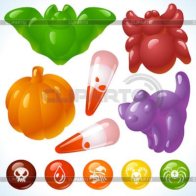 Köstliches Halloween - unheimliche Späße und Süßigkeiten | Stock Vektorgrafik |ID 3279141