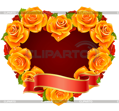 Vector orange Rose Frame in the shape of heart | 벡터 클립 아트 |ID 3279151