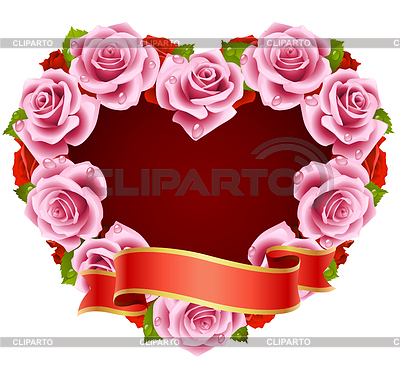Vector pink Rose Frame in the shape of heart | Stock Vector Graphics |ID 3279153
