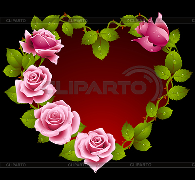 Framework from pink roses in the shape of heart | Stock Vector Graphics |ID 3279157