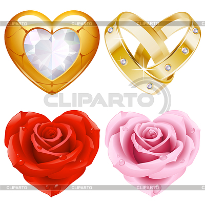 Shape of heart set. Golden jewellery and roses | Stock Vector Graphics |ID 3293934