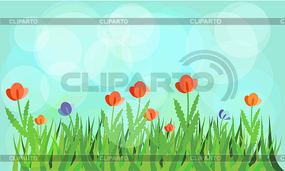 Flowering meadow with blue background | Stock Vector Graphics |ID 3271335