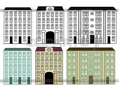 城市建筑物设置的颜色和轮廓 | 向量插图 |ID 3370919